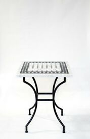 White and black checkered marble table 60 cm DIA by 75 cm H, X8 Tables Available