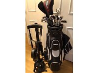 NEW... Wilson golf bag and clubs, with new 3 wheeled trolley + accessories