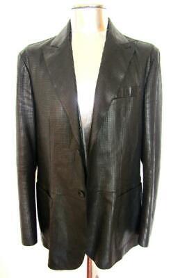 Armani Collezioni Textured Leather Jacket £1250 EU52 Large Blazer coat Black