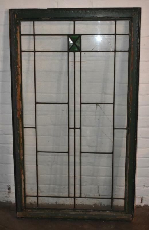 "Arts & Crafts Leaded Glass Window 32"" x 55"""