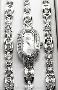 Nolan-Miller-All-Occasion-Bracelet-Watch-Trio-Silvertone-Crystal-New