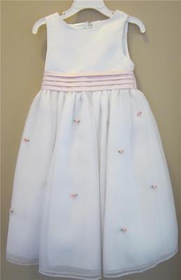 Cinderella White Dress Flower Girl Communion Girls Size 4 Pink Sash & Rosebuds](Cinderella Communion Dresses)