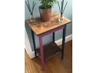 Vintage wood high side table pink purple/ navy blue chalk finish