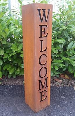 Welcome Säule Gartendeko Dekoration Metallsäule Edelrost 1 Meter