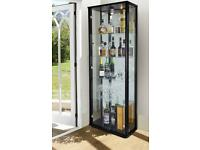 Lockable Glass Display Cabinet Unit 2 Doors Black,Silver,Oak Effect Brand New Cabinets