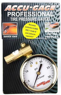Meiser Accu-Gauge Fat Bike Tire Presta-Valve Dial Air-Pressure Gauge - Max 30psi