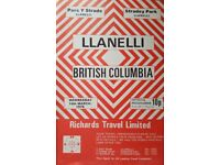 Rugby Union Programme: Llanelli v British Columbia 1976 - Very Rare