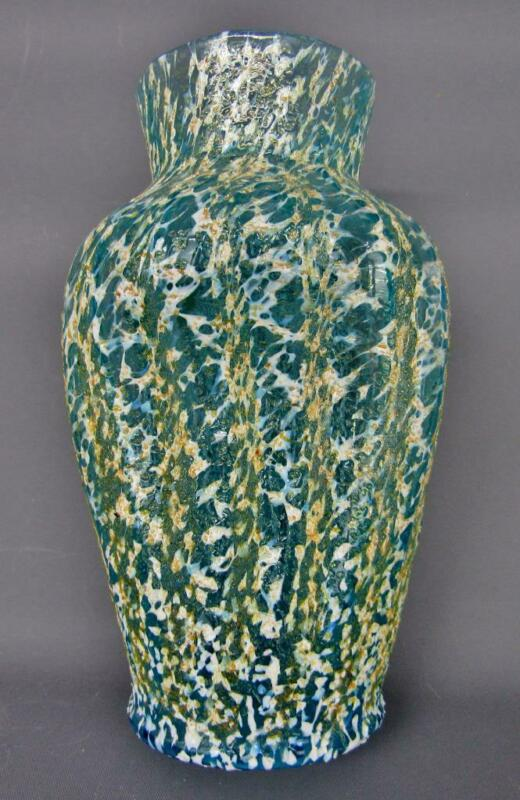 Dugan Art Glass POMPEIAN Aqua Pinched Spatter Vase with Vertical Frit B161