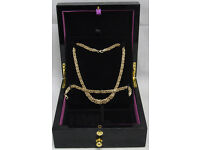 "9ct Gold 17"" Fancy Twisted Necklace & 7.5"" Bracelet Set - British Hallmarked"