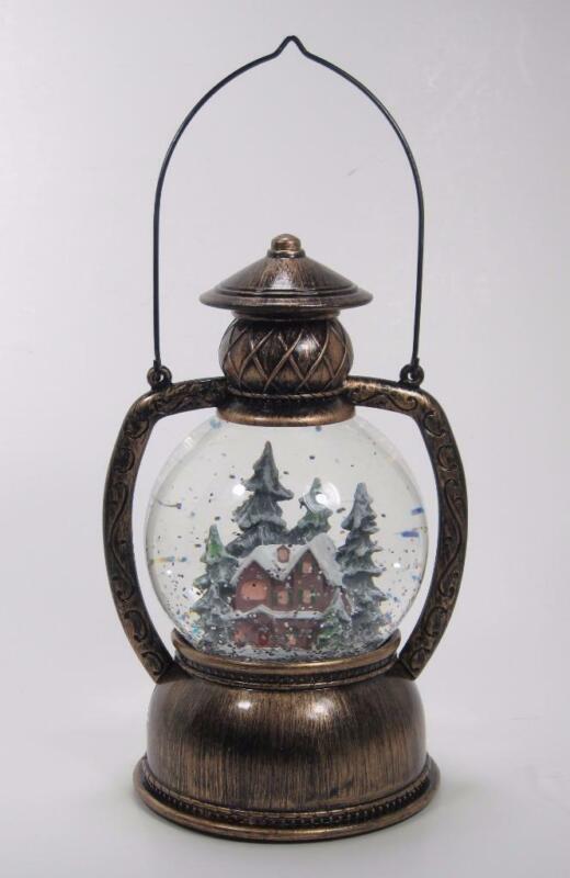 Lighted Spinning Snow Globe Cabin in Winter Scene Lantern Christmas Decor