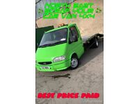 Scrap cars wanted top price paid