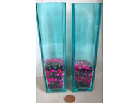 pair of teal glass vases