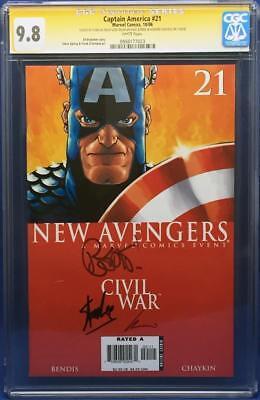 Captain America #21 SS CGC 9.8 Signed Stan Lee, Brian Bendis, Howard Chaykin
