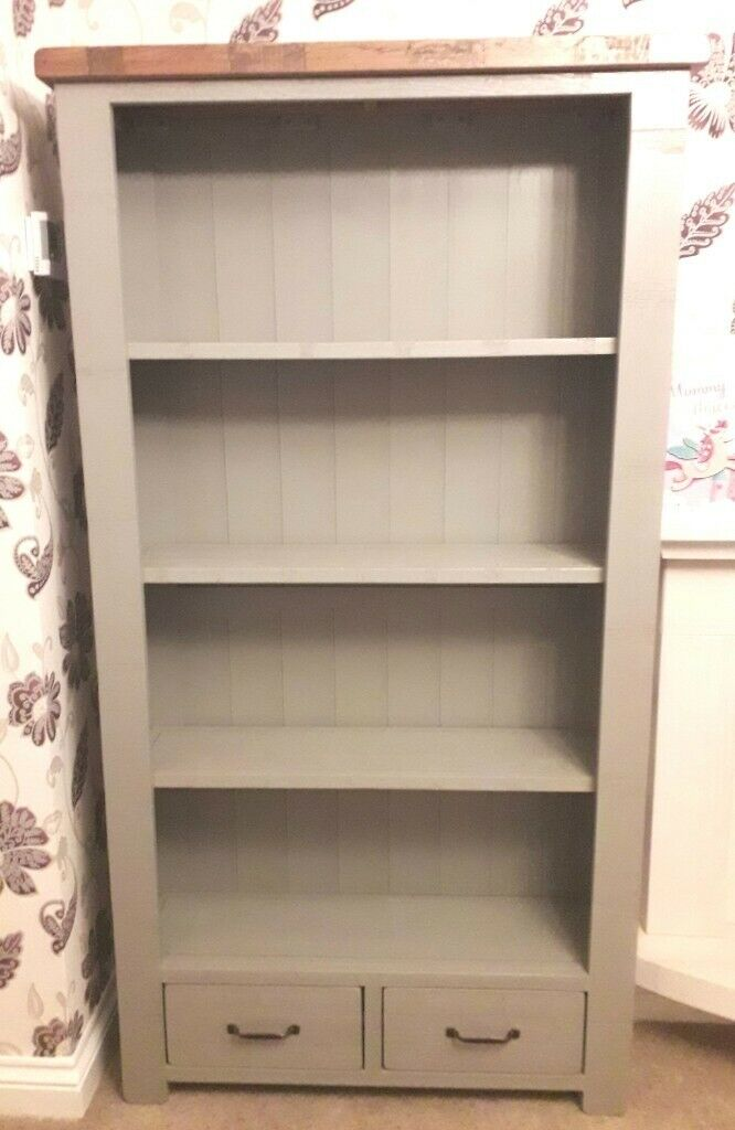 Oak Furniture Land Clermont Painted Rough Sawn Solid Oak Bookcase