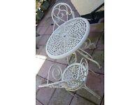 Cast aluminium garden table and 2 chairs