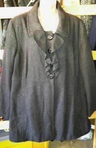 "XXL 2X GREY WOOL BLEND COAT Womens NEW Plus Size Bust 48"" Hip 50"" Ladies Jacket Gray"