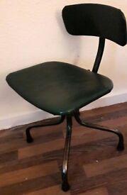 Retro Vintage Industrial Tan-Sad Machinist / Factory / Typist Swivel Desk Chair