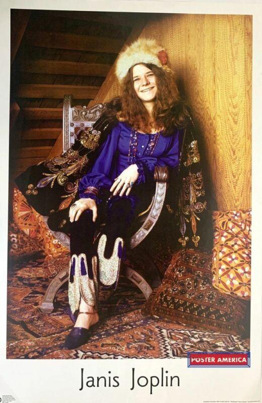 Janis Joplin Fur Hat Rare Poster 24 x 35