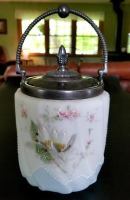Antique Biscuit Jar Water Lily Blue Background Beading  Mt Washington