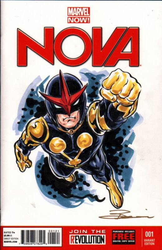 Marvel Sketch Cover NOVA VARIANT ED Original Color Artwork by Artist DAMON BOWIE