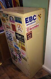 large Workshop garage metal cabinet with vintage bike motorbike stickers