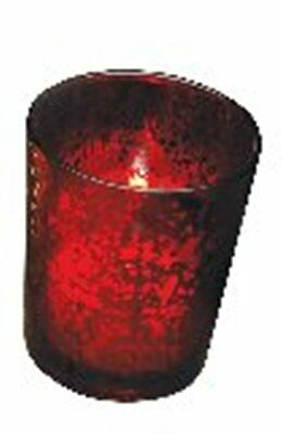 - Votive Candle Holder, Red Rustic Glass, New, Holds Tealight or Votive Candles