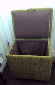 Vintage Storage Blanket Box Ottoman on Bakelite Castors