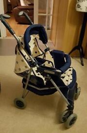 Mamas and Papas doll pushchair in cream and blue