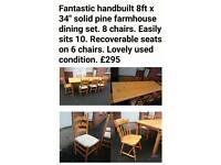 8ft solid pine dining set