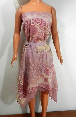 My Size Barbie Lined Pink & Tan Paisley Strapless Tea Dress w Hankerchief Hem
