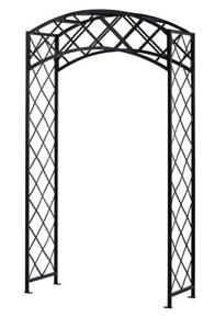New, Damaged Box Panacea Arched Lattice Garden Arbor, Black (Pick-up Only) - DI1