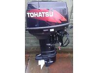 Tohatsu outboard , 2 stroke remote electric start serviced warranty long shaft boat engine