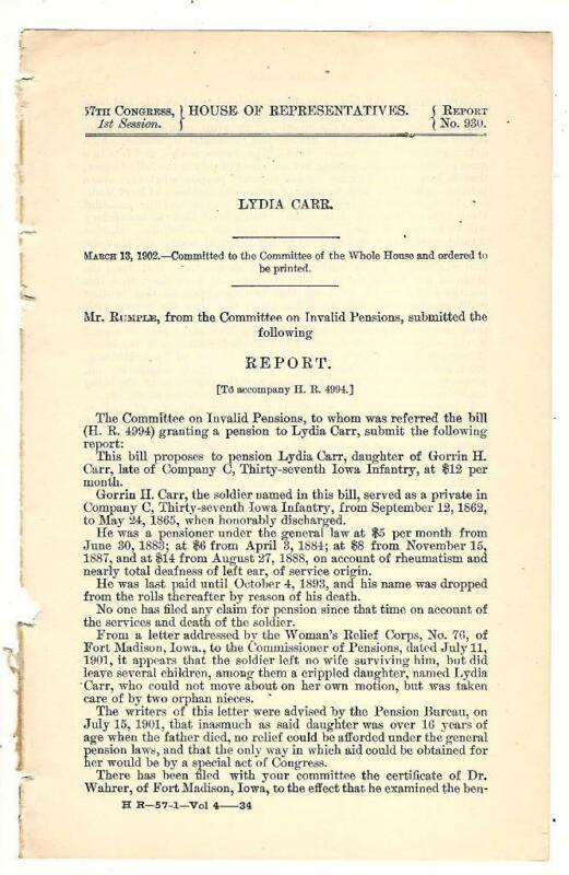1902 Comte. Invalid Pensions: Lydia Carr Survivors Pension Request