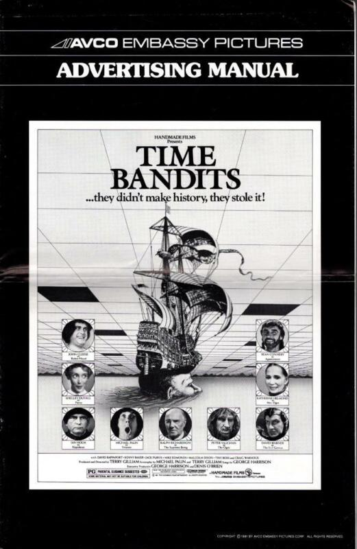 Large Pressbook 1981 TIME BANDITS John Clese, Sean Connery, missing a page