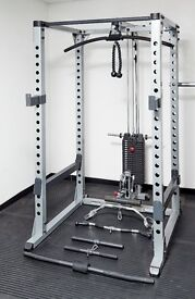Body Solid Commercial Power Rack and Selectorised Lat Machine (200lb Stack) and Bench
