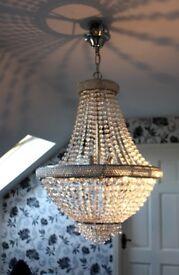 Stunning Crystal Chandelier, Glass Chrome Light