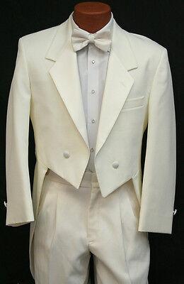 Ivory Off White Tuxedo Tailcoat Jacket w/ Pant Set Cream Wedding Groom Tails Tux