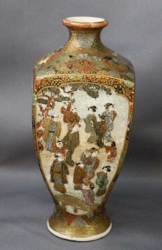 Antique Miniature Satsuma 4 Panel Vase Signed Possibly Meizan Meiji