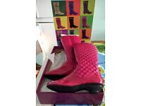 Lelli Kelly Knee High Boots Pink Patent - size UK 3