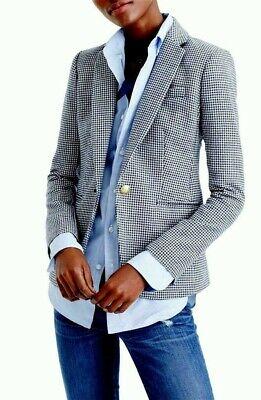 J CREW Campbell Wool Blazer Blue White Houndstooth Sz 10