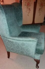 Wing back sofa and chair