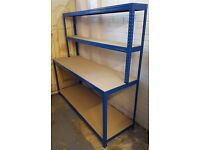 Big Dug Large Desk Workstation Workbench Table - Warehouse Packing Station Heavy Duty with Shelves