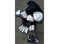 DUNLOP golf set & HIPPO stand-bag (NEW) - irons/woods/hybrid/putter/bag & LOTS of balls & tees !!
