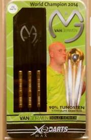 Michael Van Gerwen XQ Darts 25 Grams 90% Tungsten Titanium Coated Gold Series (brand new and boxed)