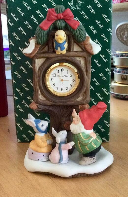 FITZ & FLOYD 1993 VILLAGE SQUARE CLOCK HOLIDAY HAMLET ENCHANTED FOREST ELF