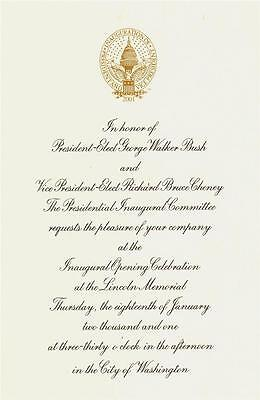 President George W  Bush   Cheney Opening Celebration Inaugural Invitation 2001
