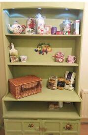 **SOLD** Solid oak wood kitchen dresser, shabby chic decoupage details