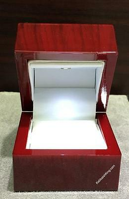 Oak Rose Wood Color Strong LED Light Bridal Jewelry Ring Box THE BEST RING