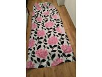 Free white, pink and black flower patterned lined curtain