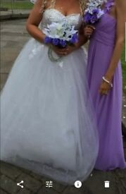 Wedding dress, NO vail, NO underskirt. Bridesmaid dress lilac, both dresses size 10